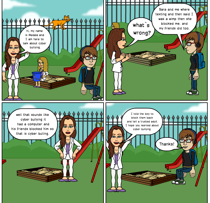 I worked hard and learned lots about cyber bulling in class. I hope to use bitstrips again.